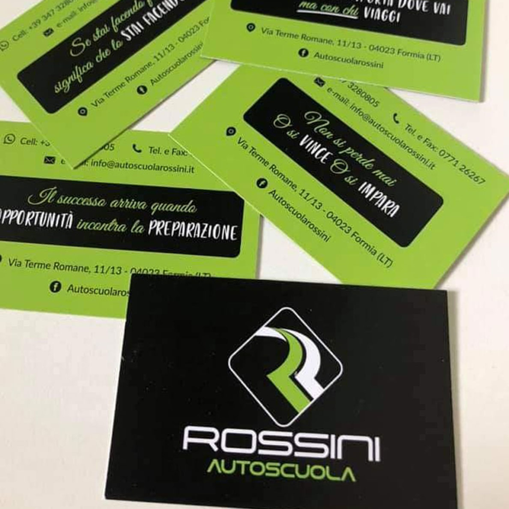 Autoscuola Rossini Biglietti da Visita personalizzazione nobilitata 2021
